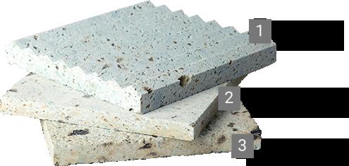 大谷石は、加工方法によって表情が変わります。<br /> 豊富なバリエーションはそれぞれ個性的で、さまざまなシーンを美しく演出します。<br /> <br /> 1. リブ(三角)/中目<br /> 2. ダイヤ挽き/細目<br /> 3. ダイヤ挽き/中目<br /> <br /> 規格寸法、および1mm単位でオーダーカットできます。<br /> 枚数や寸法により納期はご相談ください。1~2週間程度いただく場合がございます。