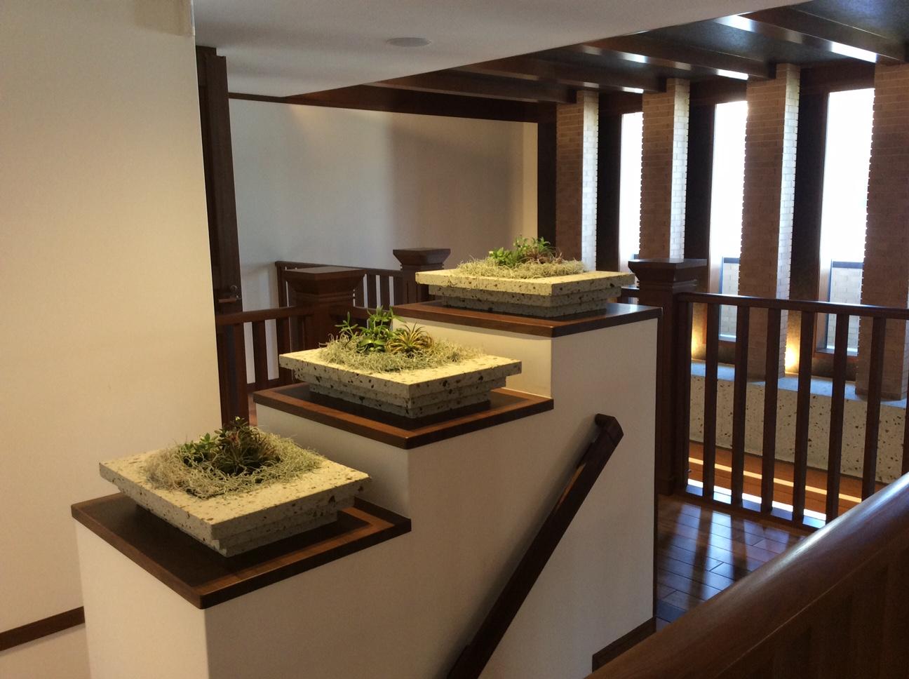 階段のところにはちょっとした大谷石と植物のオブジェを置きました。とてもよく合います。