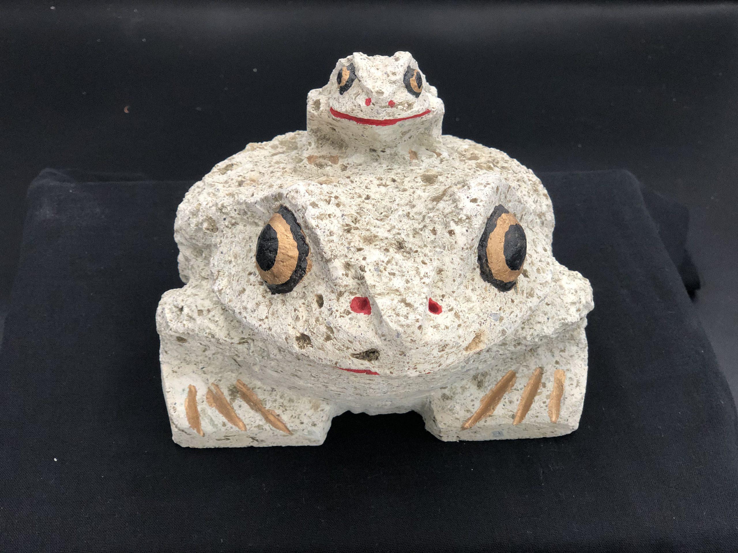 大谷石6寸親子カエル