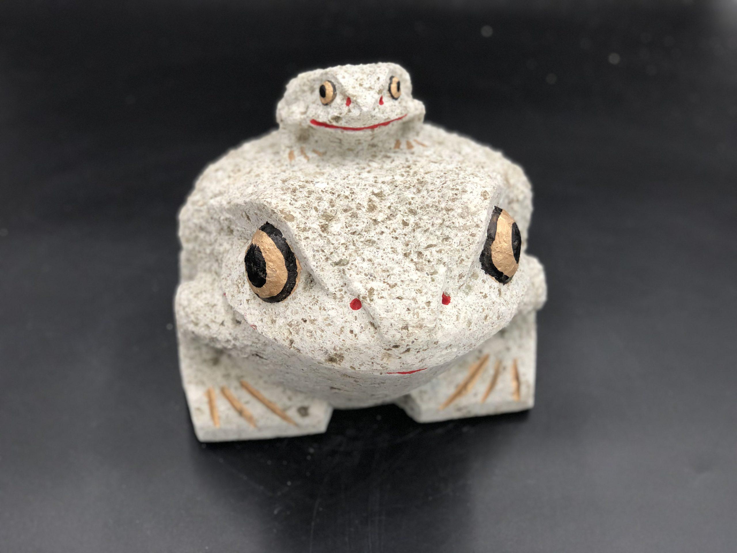 大谷石7寸親子カエル